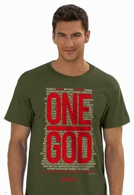 One God, Short Sleeve Regular Fit Tee Shirt, Military Green, Adult Small  -