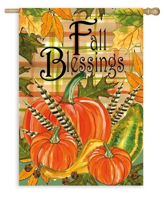 Fall Blessings, Flag, Large  -     By: Rebecca Harrell