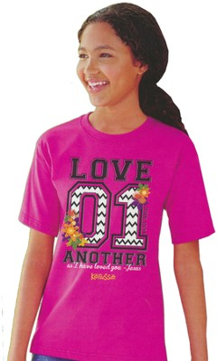 Love 01, Short Sleeve Kidz Fit Tee, Heliconia, Youth Large  -
