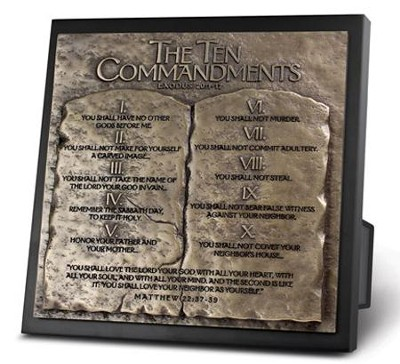 Ten Commandments Sculpture Plaque  -