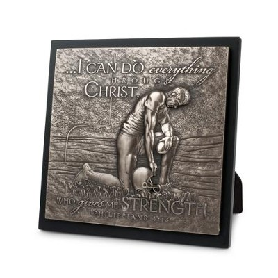 I Can Do Everything... Moments of Faith, Football Sculpture  Plaque  -