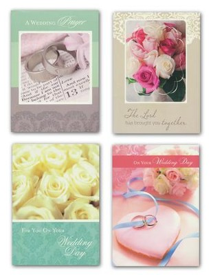 Rings and Flowers Wedding Cards, Box of 12  -