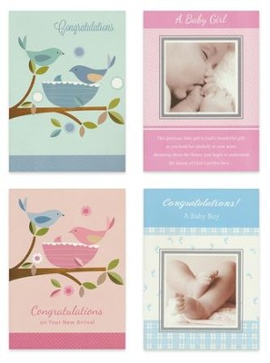 New Baby, Pink and Blue, Baby Cards, Box of 12  -