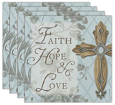 Faith, Hope, Love Coasters, Set of 4  -
