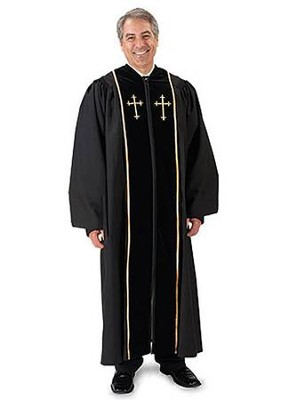 Black Pulpit Robe with Velvet & Gold Cross Embroidery (59)  -