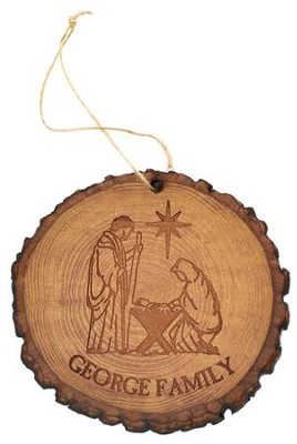 Personalized, Tree Bark Ornament, Nativity Scene   -