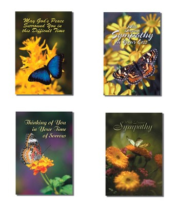 Butterflies Sympathy Cards, Box of 12  -