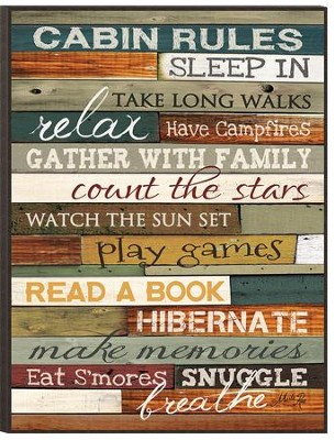 Cabin Rules Wall Art  -