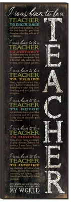 Born To Be A Teacher Wall Art  -