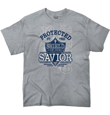 Protected By the Shield Of Our Savior Shirt, Gray, Medium    -