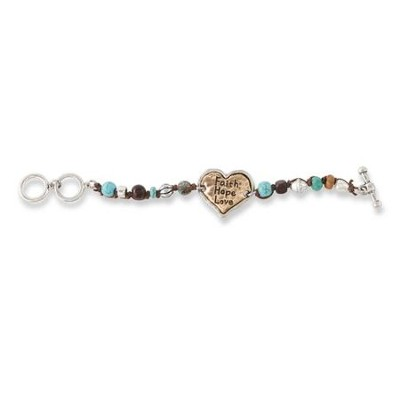 Faith, Hope, Love Toggle Bracelet, Gold, Silver, Turquoise  -