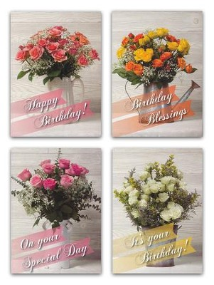 Rose Bouquet Birthday Cards, Box of 12  -