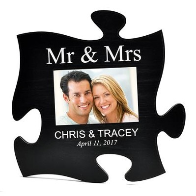 Personalized, Puzzle Photo Frame, Mr and Mrs, Black   -