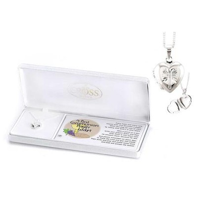 My First Communion Heart Locket, Silver  -