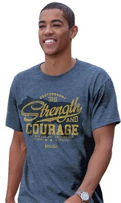 Strength and Courage, Bear Shirt, Blue, Large  -