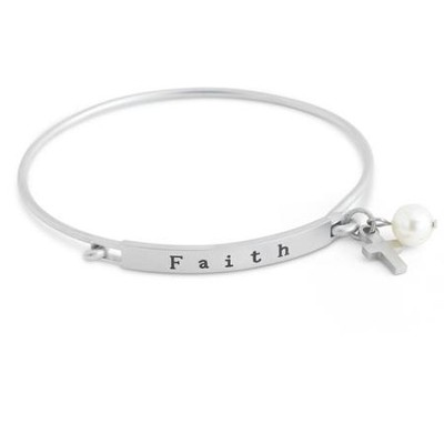 Faith Stainless Steel Bangle with Cross and Pearl Charm  -