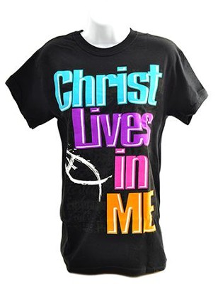 Christ Lives In Me Shirt, Black, Medium  -