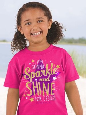 I'm Gonna Sparkle and Shine For Jesus Shirt, Pink, Youth Small  -