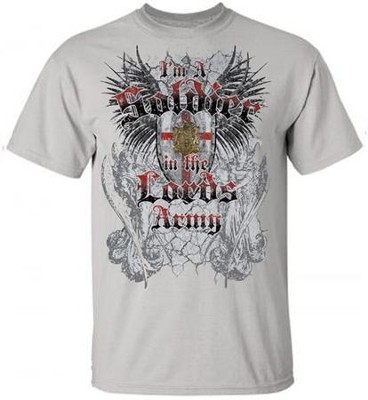 I'm A Soldier In the Lord's Army Shirt, Gray, XX-Large  -