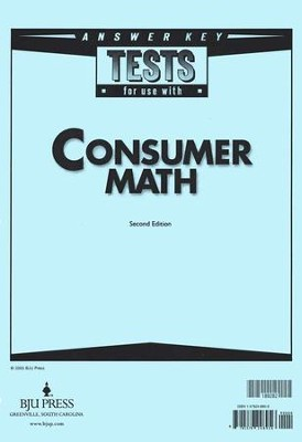 BJU Consumer Math Tests Answer Key (Second Edition)    -