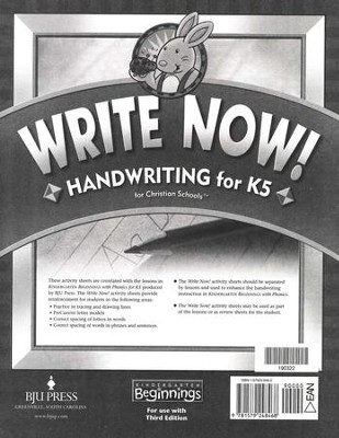 BJU Press Write Now! Handwriting for K5  -