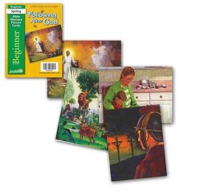 Following after God Beginner (ages 4 & 5) Mini Bible Memory Picture Cards (Spring Quarter)  -