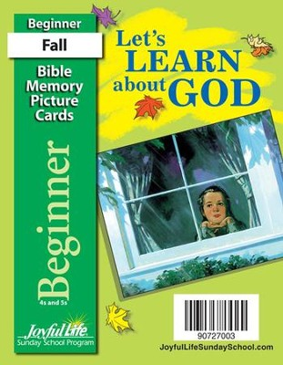 Let's Learn About God Beginner (ages 4 & 5) Mini Bible Memory Picture Cards  -