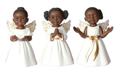 Angel Cherub Figurines, White, Set of 3  -