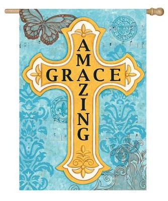 Amazing Grace, Cross Flag, Large  -     By: Deb Strain