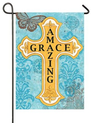 Amazing Grace, Cross Flag, Small  -     By: Deb Strain