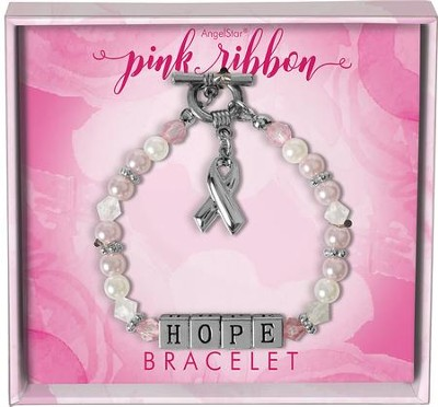 Pink Ribbon, Hope, Charm Bracelet  -