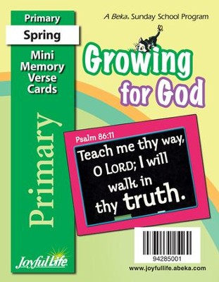 Growing for God Primary (Grades 1-2) Mini Memory  Verse Cards  -