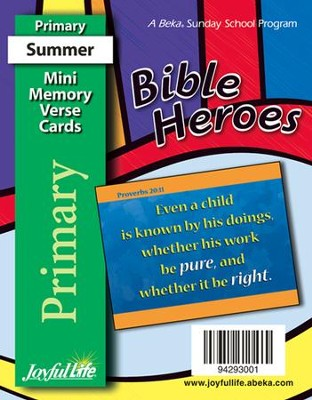 Bible Heroes Primary (Grades 1-2) Mini Memory Verse Cards  -