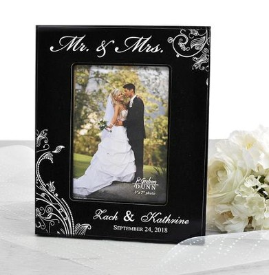 Personalized, Mr. & Mrs. Photo Frame, Scroll, Black   -