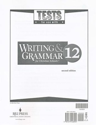 BJU Writing & Grammar Grade 12 Tests (Second Edition)   -