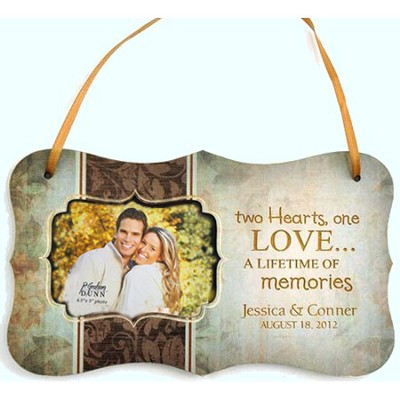 Personalized, Two Hearts One Love, Hanging Photo Plaque, Green  -
