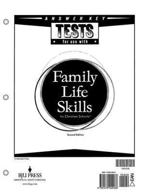 BJU Tests Answer Key for Family Life Skills     -