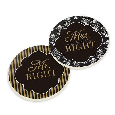 Mr. Right, Mrs. Always Right Car Coasters, Pack of 2  -