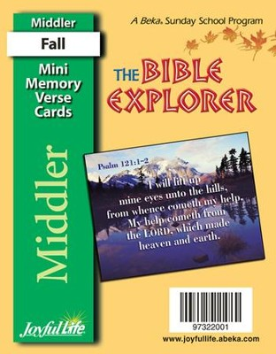 Bible Explorer Middler (Grades 3-4) Mini Memory Verse Cards  -
