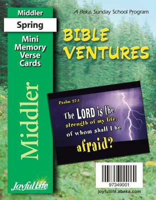 Bible Ventures Middler (grades 3-4) Mini Memory Verse Cards (Spring Quarter)  -