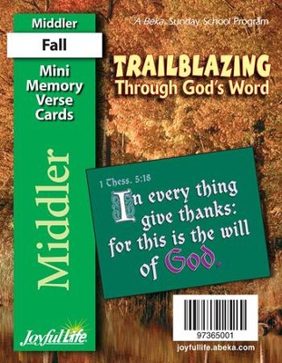 Trailblazing through God's Word Middler (Grades 3-4) Mini Memory Verse Cards  -