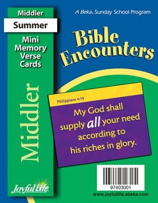 Bible Encounters Middler (Grades 3-4) Mini Memory Verse Cards  -