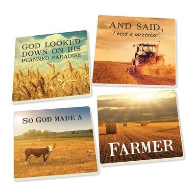 God Made A Farmer Coasters, Pack of 4  -