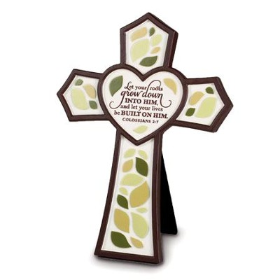 Resin Wall Cross - Tree - Let Your Roots Grow  -