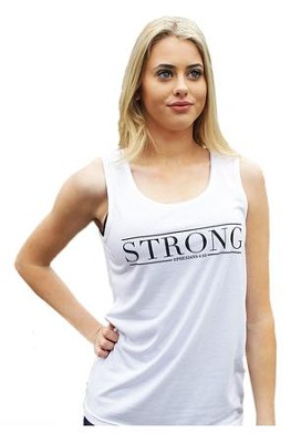 Strong Tank Top for Women, White and Black, Extra Small  -