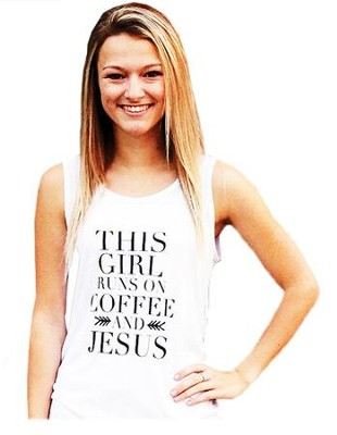 Coffee and Jesus Tank Top for Women, White and Black, Extra Small  -