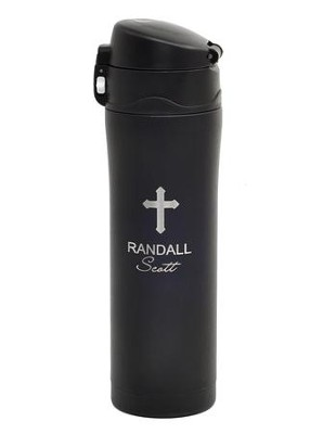 Personalized, Insulated Mug with Cross, Black   -