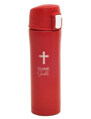 Personalized, Insulated Mug with Cross, Red   -