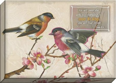 He Will Cover You, Birds Canvas Art, Psalm 91:4  -