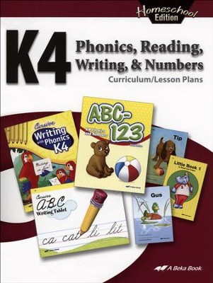 Abeka Homeschool K4 Phonics, Reading, Writing & Numbers  Curriculum Lesson Plans  -